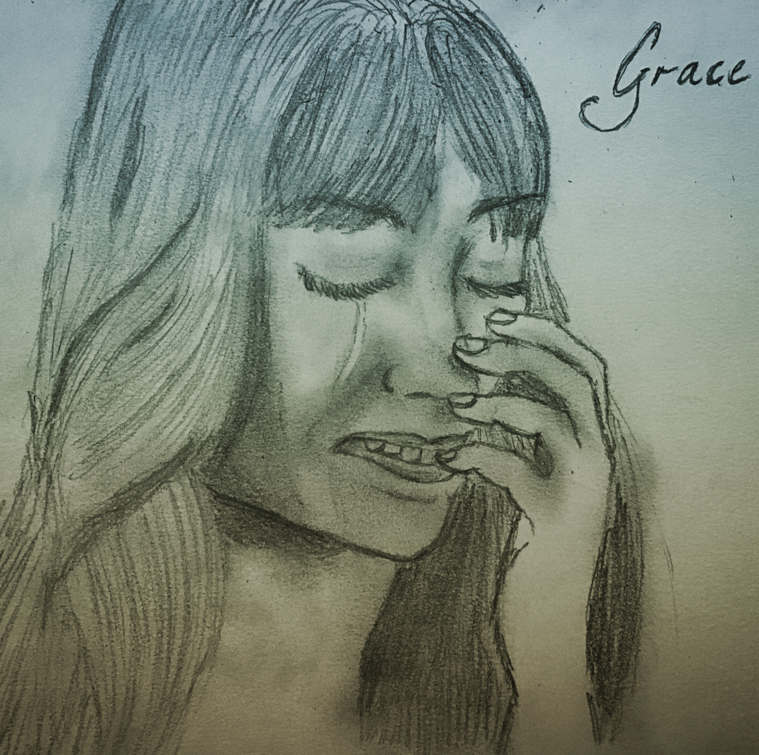 Stetch drawn of character, Grace, crying. Dark hair and fringe. Picture has blue tint