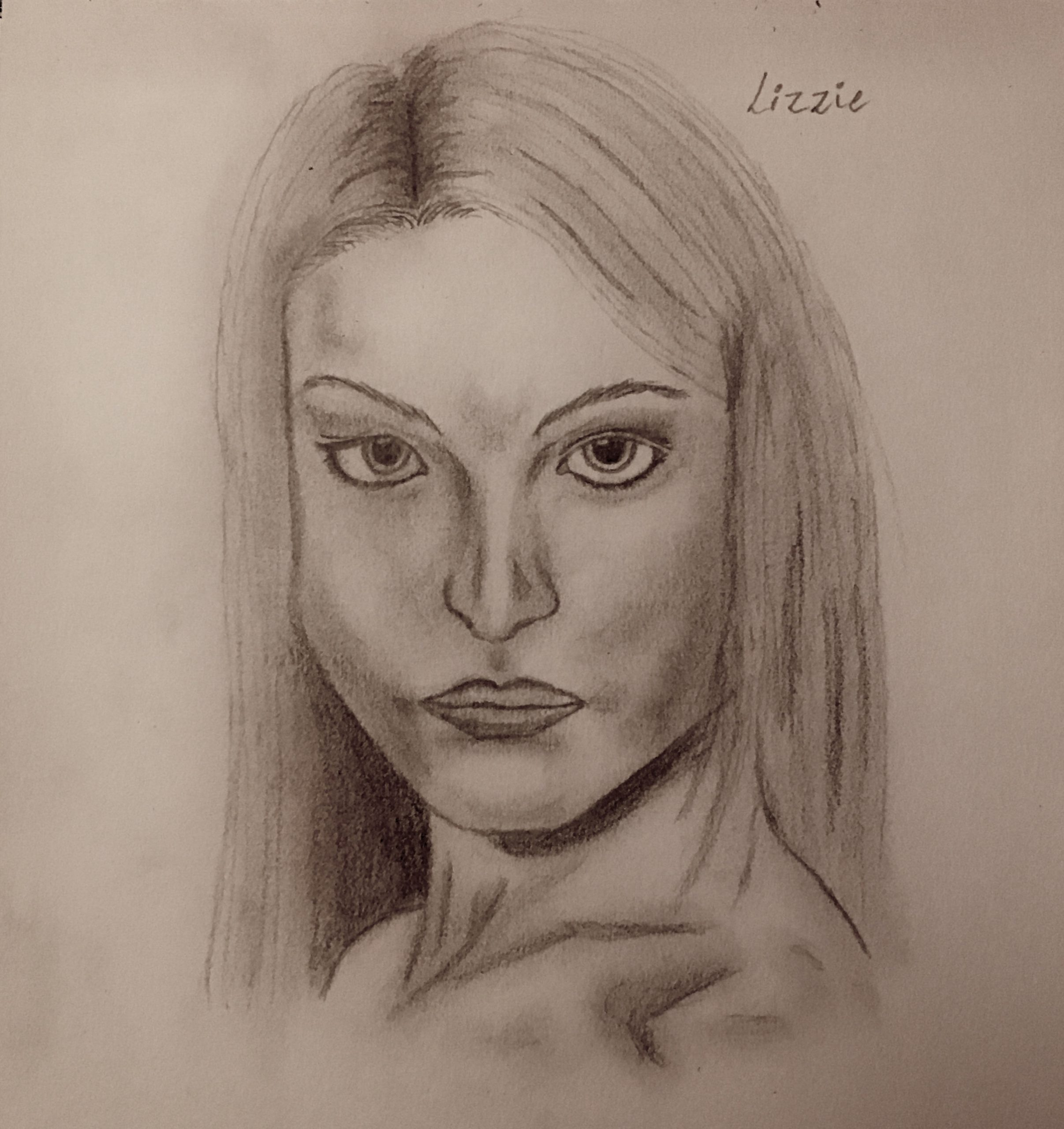 Sketch drawn of character, Lizzie. With a direct stare and long blonde hair, Lizzie looks determined.