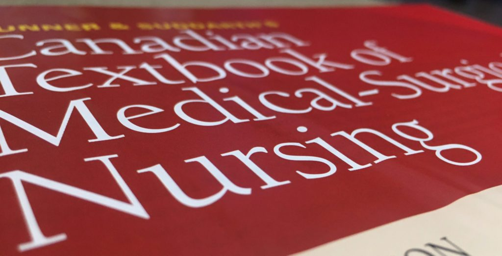 """Close up shot of the title of the textbook """"Brunner and Suddarth's Canadian Textbook of Medical-Surgical Nursing"""