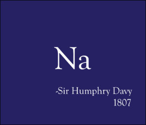 The elemental symbol for sodium (Na) written in white, contrasted against a deep purple background, with the words 'Sir Humphry Davy, 1807'
