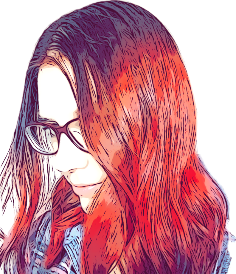 Red fire hot hairdo, the picture filtered in a comic book cartoon style.