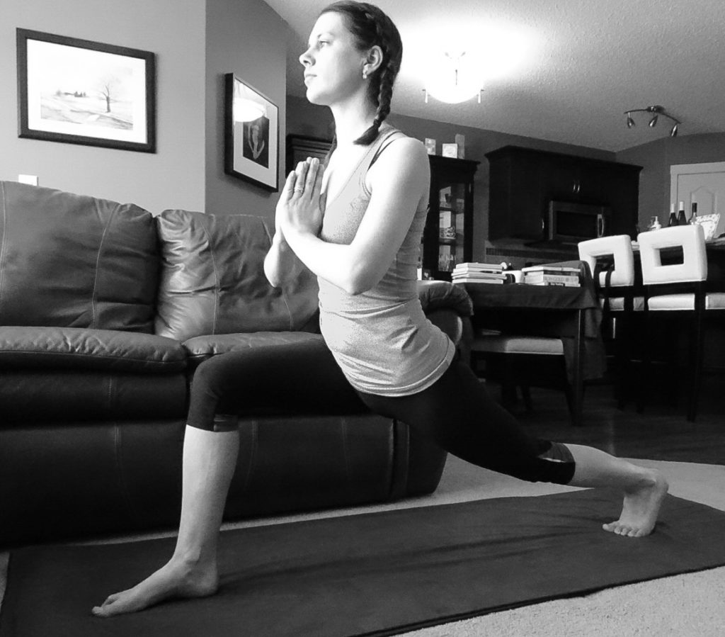 Walking on the dark side can be healthy, but we need an equal balance of dark and light. Picture is of Sarah practicing yoga in a deep lunge.