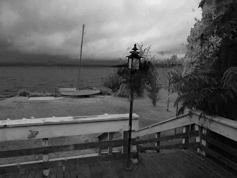 The view from Ashley's retreat: stormy skies and a turbulent lake. The perfect place to write