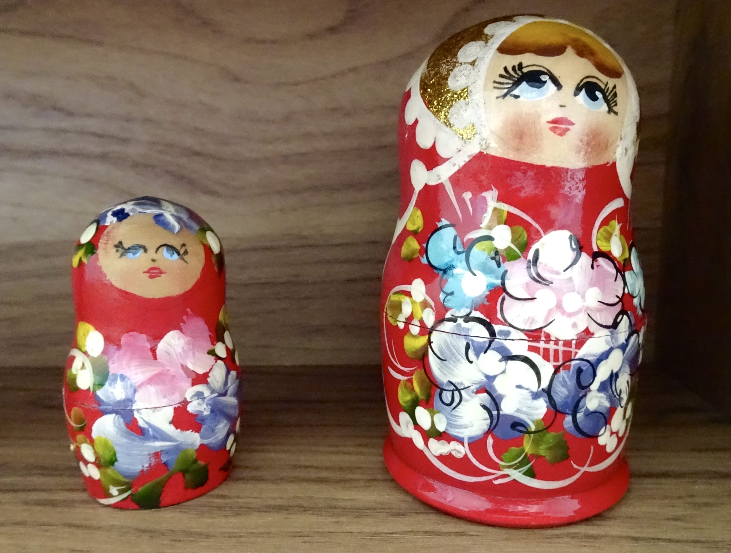 Decorative touches to the desk in Sarah's home office. No space is complete without her Russian dolls!