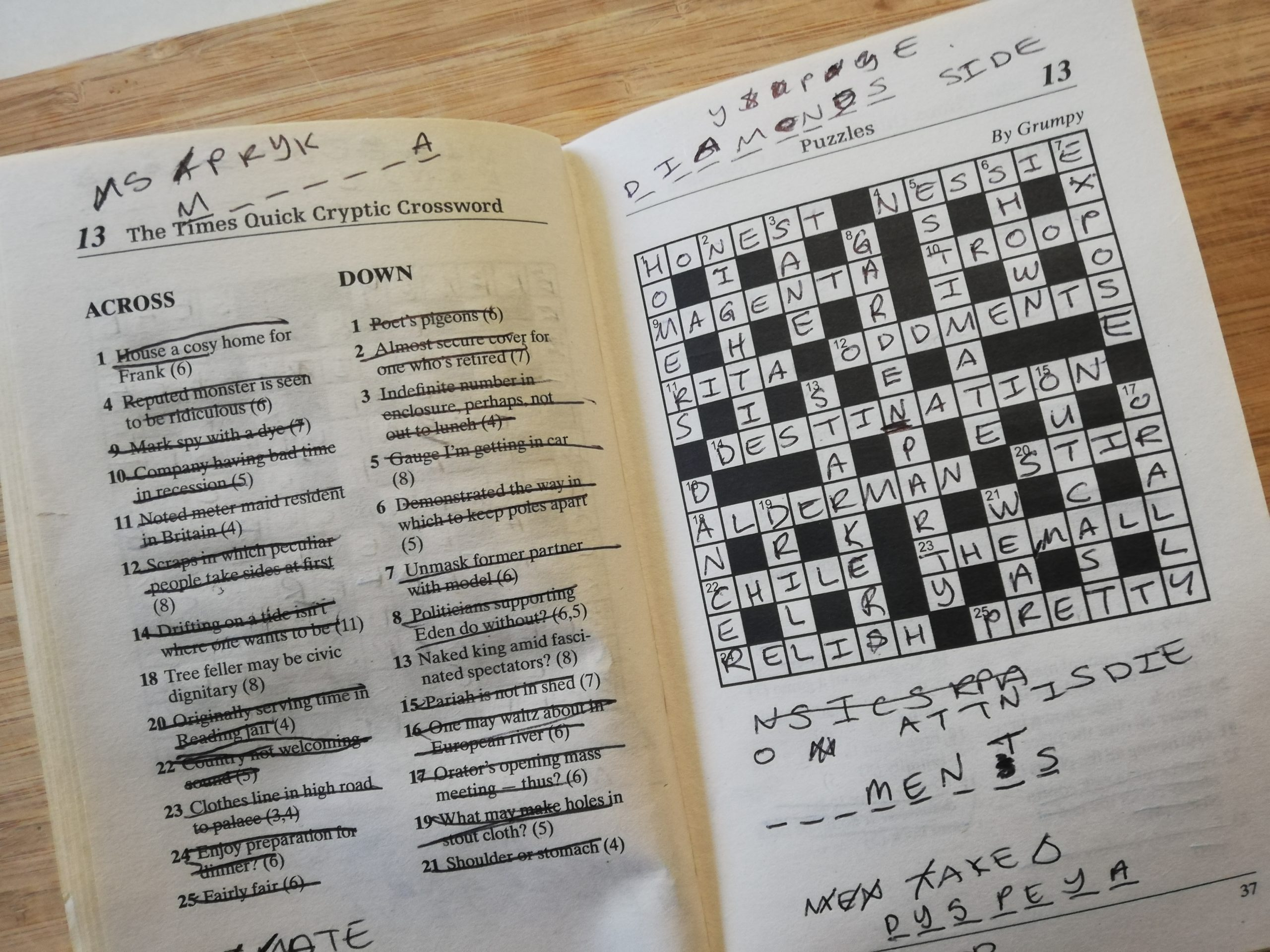 Cryptic Crosswords. In the picture there is a completed puzzle with a number of notes scribbled in the margins.