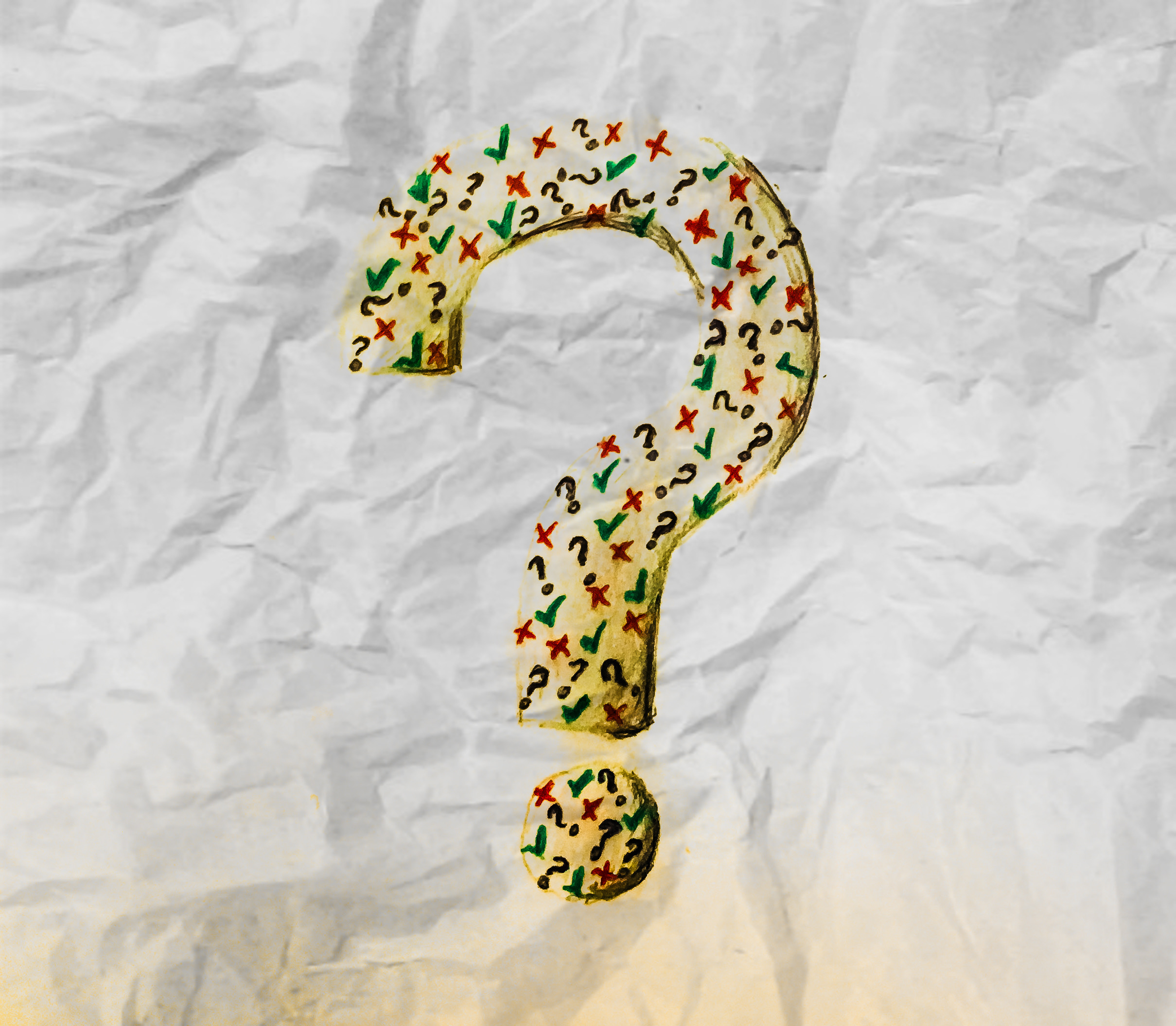 Fact or fiction? Picture of a question mark on wrinkled paper background. Inside the question mark are tiny little question marks, ticks and crosses to create an artistic effect.