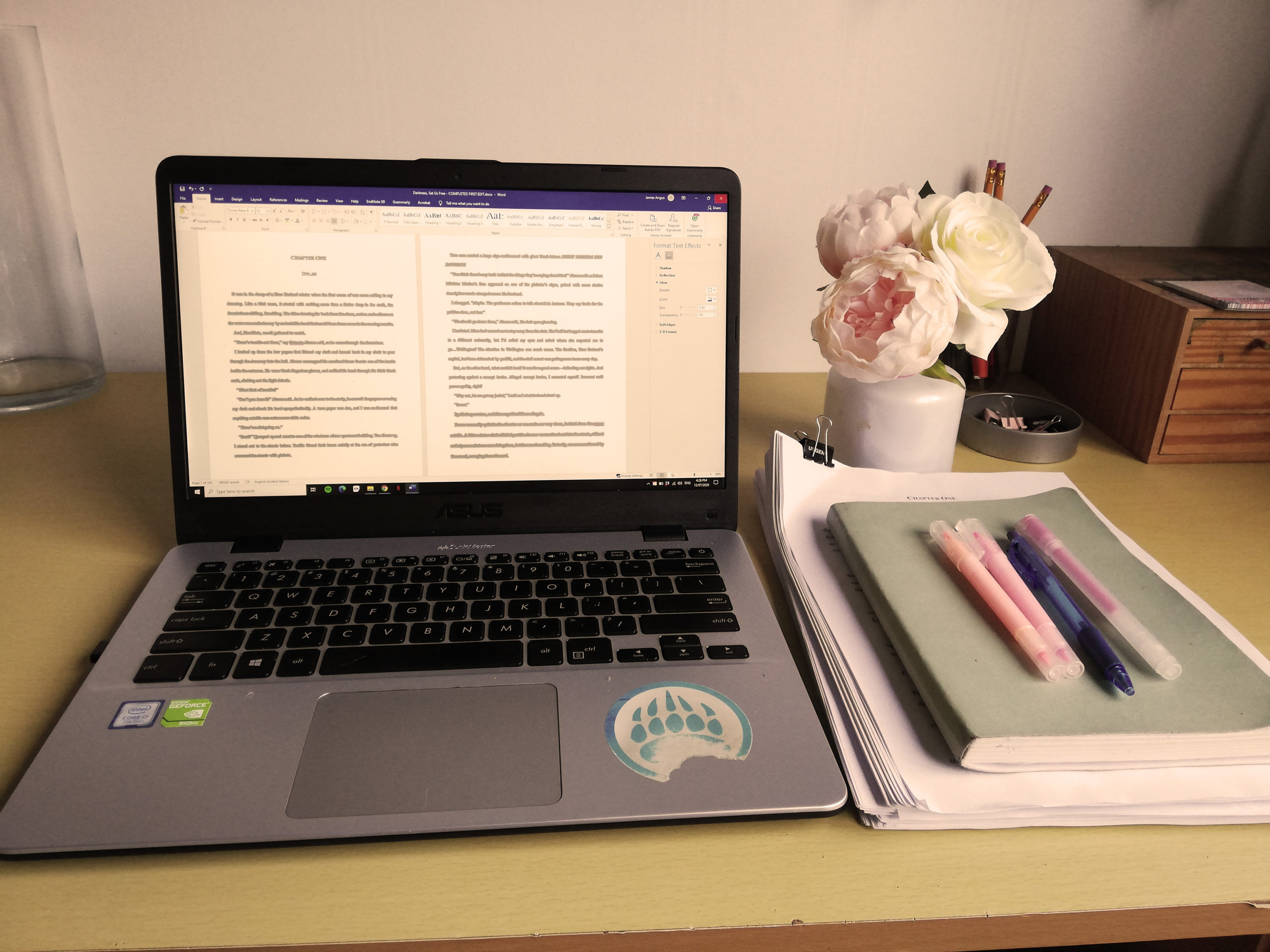 From familiar to unfamiliar. Ashley only just read Darkness, Set Us Free, after having a two month break from the manuscript. In the picture is her laptop, notebook and writing utensils, with roses in a vase for decoration.