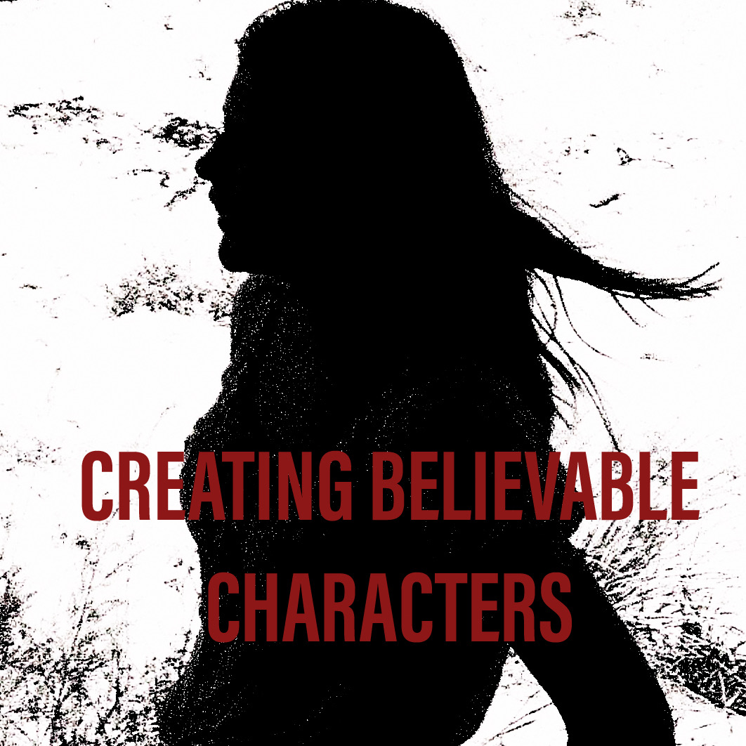 A silhouette with the words, 'creating believable characters' on the bottom third of the page in bold red lettering.