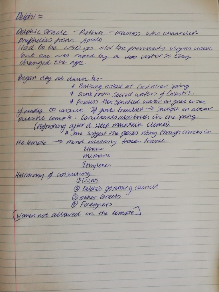 Ashley's (extremely tidy) notes on Delphi for our Ancient Greece novel. Research tips: take notes on the info so you don't have to wade through articles to find a key piece of info again.