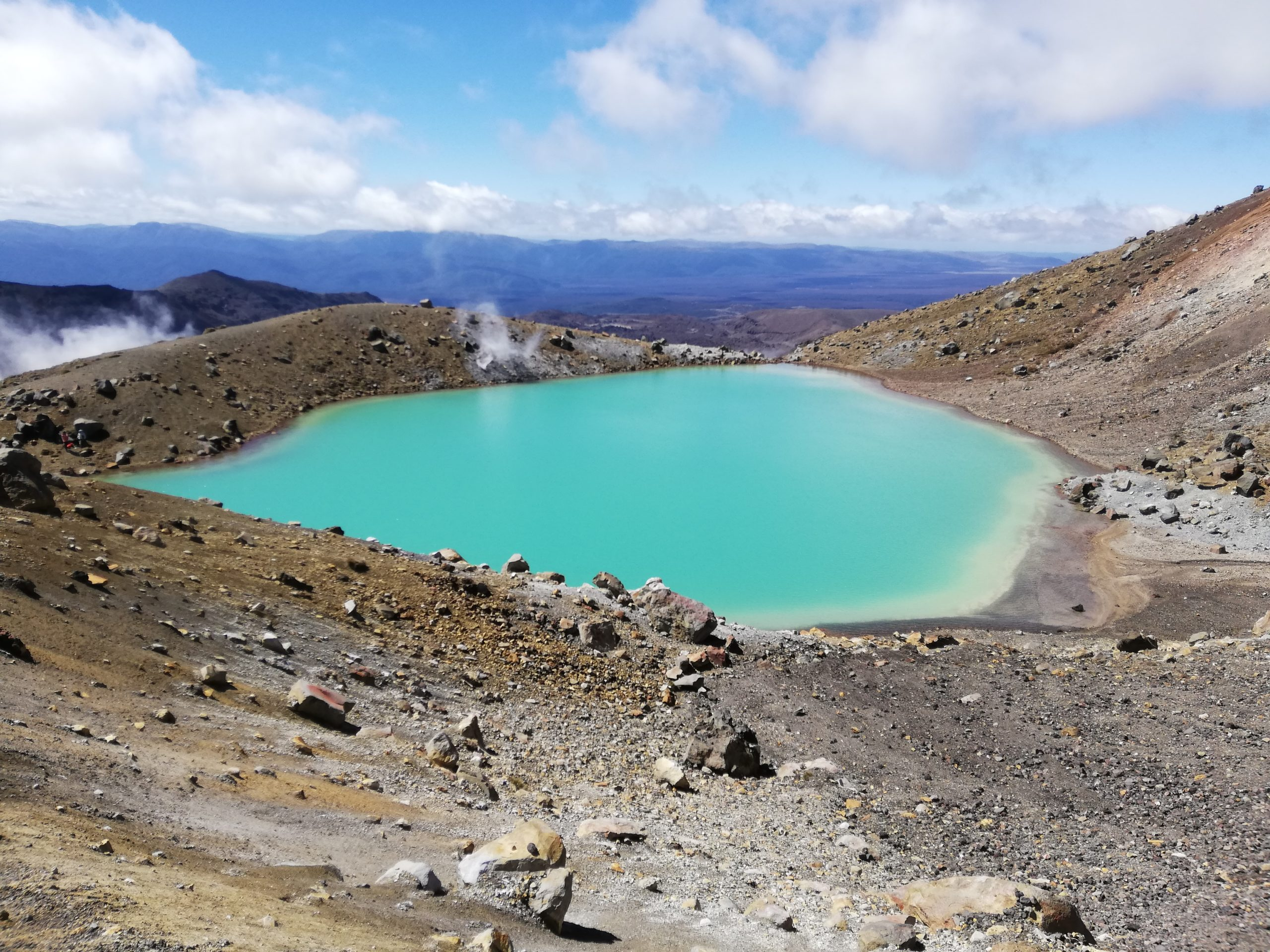 Tongariro has beautiful scenery such as the Emerald Lake, pictured